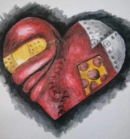Wounded Heart in Watercolor